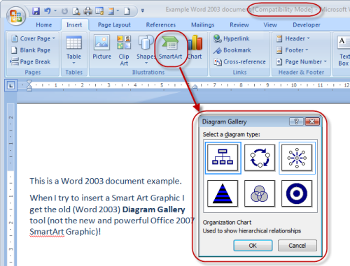What is compatibility mode topic trainer if you try to insert a smartart graphic the diagram gallery which is office 2003 functionality is displayed instead of the new smartart graphic ccuart Gallery